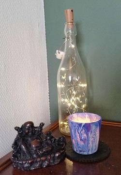 acrylgieten op glaasje voor waxinelichtjes